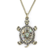Gold Tone Purple Crystal Turtle Pendant Necklace