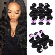 Shengmeiyuan Beauty Show 20cm - 80cm Grade 9A Unprocessed Brazilian Body Wave Virgin Hair 3 Bundles Rosa Hair Products Human Hair Weave Extensions Natural Black Colour
