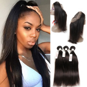 Tuneful 360 Lace Frontal Band With Bundles Peruvian Virgin Hair With Closure Unprocessed Human Hair Weave Back Lace Frontal Closure African American Hair Extensions For Black Women