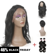 Fabeauty Pre Plucked (22×4×2) 360 Lace Frontal Band with 2 Bundles Body Wave Brazilian Virgin Hair 2Pcs Lot Human Hair Wefts with Full Lace Frontal Natural Hairline & Baby Hair