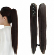 FESHFEN 60cm 170g Hair Piece Pony Tail Ponytail Hair Extensions Hairpiece Long Straight/Voluminous Curled Wavy Clip In/On Claw Ponytail 6# Chestnut Brown