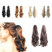 FESHFEN 60cm 170g Hair Piece Pony Tail Ponytail Hair Extensions Hairpiece Long Straight/Voluminous Curled Wavy Clip In/On Claw Ponytail 4# Medium Brown