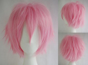 Anime Cosplay Synthetic Full Wig with Bangs 20 Styles Short Layered Fluffy Hair Oblique Fringe Full Head Unisex +Stretchable Elastic Wig Net for Man and Women Girls Lady Fashion