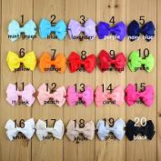 OliaDesign® 20pcs 7.6cm Boutique Hair Bows Girls Kids Children Alligator Clip Grosgrain Ribbon Headbands 20 Colour