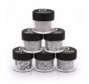 Amazing Variety Of Holographic Silver Glitter! 6 (Pack) different Shapes and Sizes - 10 Gramme Jars - You Won't Find This Combination Anywhere Else!