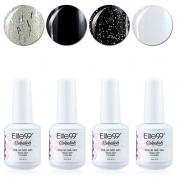 Qimisi Soak Off Gel Polish Lacquer UV LED Nail Art Manicure Kit 4 Colours Set LM-C174 + Free Gift