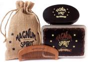 Beard Kit - 100% Wild Boar Bristle Beard Brush (Firm) & Handmade Wooden Beard Comb Kit for Men with Jute Travel Bag and Metal Gift Box – For Beard, Moustache & Hair