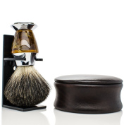 Maison Lambert Badger Shaving set - Include a wooden shaving bowl, a badger shaving brush and an organic shaving soap. Be sure to please your men with this shaving kit!