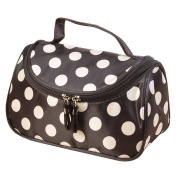 Cosmetic Bag, Misaky Polka Dot Flip Double Zipper Toiletry Kits