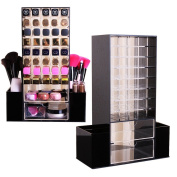 All in 1 Clear Premium Acrylic Lipstick , Makeup Brushes , Cosmetic Organiser Unit With Draws and Removable Side Compartment Rotating Holder