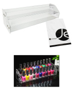 JAVOedge 2 Tiers Nail Polish Acrylic Display Holder Stand Fits Up To 20 Nail Polish Bottles