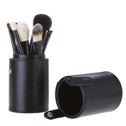 Silentrees 12-Piece Natural Animal Hair Makeup Brush Set with Leather Holder, Black