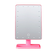 UNIQUEBELLA Pink 20 LEDs Makeup Mirror with Lights Touching Screen Portable Angle Adjustable Desktop Mirror