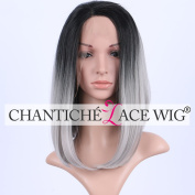 Chantiche  .   2 Tones Short Bob Synthetic Lace Wigs Side Parting Straight Dark Roots to Grey Synthetic Lace Front Wig for Women 36cm