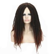 StrongBeauty Afro Kinky Curly Wigs Twist Crochet Braid Reddish Wig For Black Women