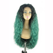 GEX 46cm - 80cm Synthetic Front Lace Wigs Water Wave Front Hand Knotted Fibre Full Wigs Ombre Piano Colours 1BTGreen 70cm