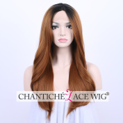 Chantiche Gluless Ombre Silky Straight Synthetic Lace Front Wig Affordable Dark Roots to Brown Full Hair Wigs for Ladies 60cm