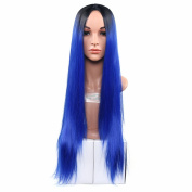 Secretgirl Women' Fashion Ombre Blue Long Straight Wig Cosplay Costume Party Wigs Halloween