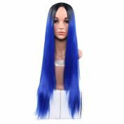 Secretgirl Women' Fashion Ombre Blue Long Straight Wig Cosplay Costume Party Wigs Halloween