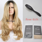 Xiweiya Short Dark Roots Ombre Blonde Synthetic Lace Front Wigs For Women Long Body Wave Heat Resistant Hair Wigs