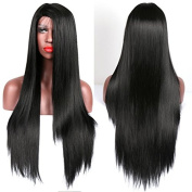 Straight Synthetic Lace Front Wig Black Soft Heat Resistant Glueless Lace Front Wigs for Women 80cm