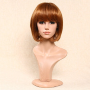 Secretgirl Short Brown Red Bob Wig With Full Bangs for Women Cosplay Party Wigs Heat Resistant