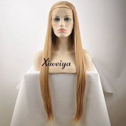 Xiweiya Light Brown Mermaid Synthetic Lace Front Wigs For Women Glueless Long Silk Straight Heat Resistant Hair Wigs Half Hand Tied