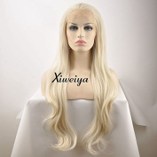 Xiweiya Natural Wave Heat Resistant Hair Wigs Mermaid Platinum Blonde Synthetic Lace Front Wigs For Women Half Hand Tied 60cm