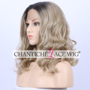 Chantiche Beautiful Looking Blonde Curly Wave Fashion Synthetic Hair Wigs Short Bob Dark Roots Lace Front Wig for White Women 41cm
