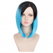 SiYi Women's Wig Short Girl's Bob Black Root Omber Blue Fashion Celebrity Party Wig