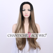 Chantiche Affordable Dark Roots Natural Straight Hair Wigs Mixed Brown Heat Resistant Fibre Two Tone Layer Synthetic Lace Front Wig for White Women 60cm