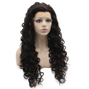 Mxangel 70cm Long Curly Heat Resistant Fibre Hair Brown Mix Natural Lace Front Synthetic Wig