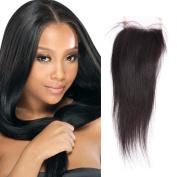OrderWigsOnline Lace Top Closures Straight 10cm x 10cm Size 100% Unprocessed Brazilian Virgin Human Hair Free Part Closures 46cm Natural Black for Black Women