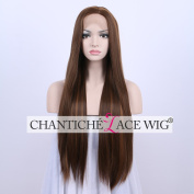 Chantiche Natural Looking Long Straight Side Parting Lace Front Hair Wig Brown with Highlights Synthetic Full Wigs for Women 60cm