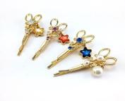 yueton Colourful Star Pearl Pendant Rhinestone Decoration Scissors Shape Barrettes Bobby Pin Hair Clips Bride Headwear Edge Clip Clamps