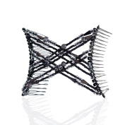 HairZing Double Cross Hair Comb, Hair Accessory Perfect for Easy Ponytails, UpDos and Twists, Black & Hematite, Medium