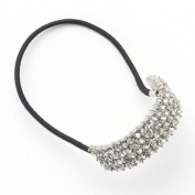 Rhinestone Ponytail Holder by Candies Stretchy Elastic Hair Tie Silvertone with Sparkling Crystals