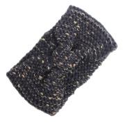 Hunputa Womens Crochet Headband Double Colour Mixture Yarn Knit Hair Band Classic Colour Ear Warmer Headwrap
