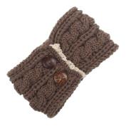 Hunputa Women's Fashion Winter Button Ear Warmer Crochet Headband Hairband Wrap