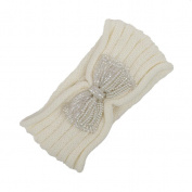 Hunputa Women's Chunky Cable Knitted Turban Bow Headband Ear Warmer Head Wrap