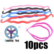 QY 10PCS Soft Plastic Bun Maker Curler Hair Holders Donut Maker Black Red Pink Blue and Hot pink