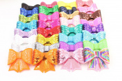 CellElection 32pcs 7.6cm Different Shiny Bowknot Sequin Hair Bows with Alligator Clips Sequin Bow Clip