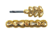 """Pink Pewter Authentic """"Daphne"""" Gold Beaded Bobby Pin Set"""