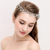 Handmade Rhinestone Silver Crystal Flower Wedding Bridal Headband with Ivory Ribbon Belt