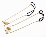 yueton 2pcs Gold Metal Dragonfly and Rose Leaf Chain Elastic Headwear Hair Band Headband