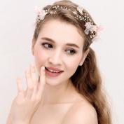 Headband Rhinestone Pearl Wedding Bridal Headband Flower Garland with Ivory Ribbon Belt