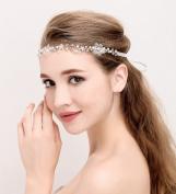Headband Rhinestone Crystal Flower Wedding Bridal Headband with Ivory Ribbon Belt
