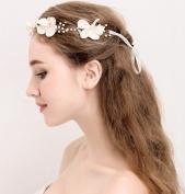 Headband Rhinestone Pearl Flower Wedding Bridal Headband with Ivory Ribbon Belt