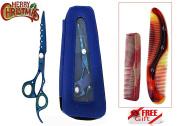 New J2 Japanese Steel Professional Razor Edge Titanium Hairdressing Scissor Shear Diamonds Coated Blue + FREE Scissor Pouch & Free Comb Set