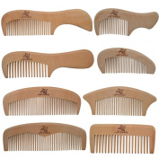 Xuanli 8 Pcs The Family Of Hair Comb - Wood with Anti-Static & No Snag Handmade Brush for Beard, Head Hair, Moustache With Gift Box